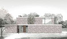 elevation brick aquarelle   house T   merelbeke - Projects -  CAAN Architecten / Gent
