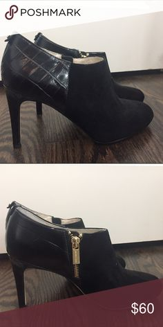 Booties MK black suede/embossed leather bootie Michael Kors Shoes Ankle Boots & Booties