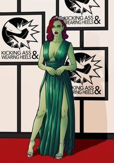"""chrispandart: """" Kicking Ass Wearing Heels volume 2 gonna be out on Kickstarter next week. Including some Red carpet fashion heroes Like Poison Ivy Go check the kickstarter page if you want to have the art book. Dc Poison Ivy, Poison Ivy Dc Comics, Poison Ivy Cosplay, Harley Quinn, Catwoman, Ivy Costume, Comics Illustration, Super Hero Shirts, Black Canary"""