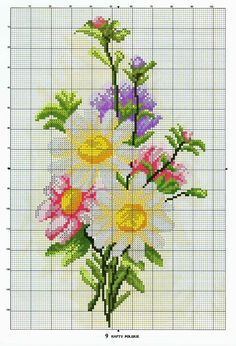 This Pin was discovered by Ann Easy Cross Stitch Patterns, Simple Cross Stitch, Cross Stitch Rose, Embroidery Patterns Free, Needlepoint Patterns, Cross Stitch Flowers, Cross Stitching, Cross Stitch Embroidery, Diy Fleur