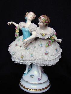 Large Antique German Dresden Ballerinas Lace Figurines   eBay