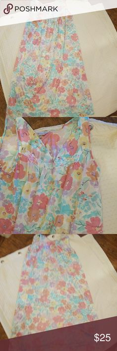 "Vintage Vanity Fair floral nighty S- M All my vintage lingerie is washed and ironed. This reminds me of Lily ponds. It is a light nylon. It measures 17"" under the arms laid flat and is 38"" long Vintage Intimates & Sleepwear Pajamas"