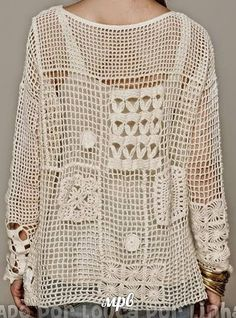 Crochet Free Form Patchwork Inspired Free People Fall Pullover - Charts and Instructions Crochet Granny, Easy Crochet, Crochet Lace, Free Crochet, Crochet Headband Pattern, Crochet Baby Shoes, Crochet Cardigan, Corsage, Free Pattern
