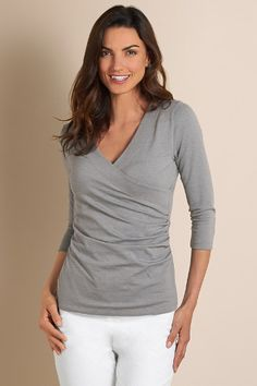 3/4 Sleeve Shapely Surplice Top - Figure Flattering Top With Surplice Styling, Tops | Soft Surroundings  $49.95  Gray Heather