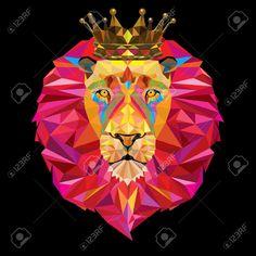 Lion head in geometric pattern with crown Illustration , Tattoo Graphique, Crown Illustration, Geometric Lion, Lions Photos, Lion Images, Triangle Art, Le Roi Lion, Lion Art, Moon Magic