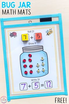 These bug jar addition and subtraction mats are perfect for your insect theme or spring theme math and literacy centers! #mathfreebies