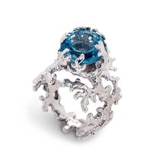CORAL Blue Topaz Engagement Ring Statement Ring by AroshaTaglia, $360.00