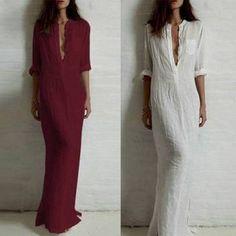 Elegante Vestido Longo Chemise, estilo Minimalista, com fendas laterais. Nas cores sólidas: preto, branco, vinho. Plus size!