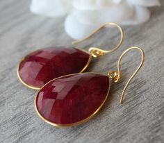 Huge Raspberry Ruby Earrings Red Ruby drop earrings by ByGerene, $70.00