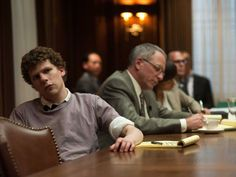 the social network movie with jesse eisenberg at table with lawyers Rick Riordan, Bradley Cooper, Jennifer Lawrence, Brad Pitt, Percy Jackson, Battlestar Galactica Movie, Social Network Movie, Best Picture Nominees, Tv Ratings