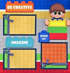 LEGO ~ BOY legos 2 premade scrapbook pages paper piecing layout 4 album CHERRY