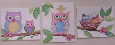 Hayley Owls and Baby Birds Kids Nursery wall art by terezief, $17.00