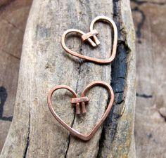 2 Copper Heart Dangles - Handmade Heart Dangles for earrings - Heart Charms by NadinArtGlass on Etsy https://www.etsy.com/listing/99358923/2-copper-heart-dangles-handmade-heart