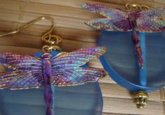 Dragonfly earrings with blue circles by NikkoNeko on Etsy, $16.00