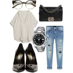 Pokerface by camilla-tartaglia on Polyvore featuring polyvore, mode, style, MASSCOB, Yves Saint Laurent, Chanel, Rolex and ZeroUV