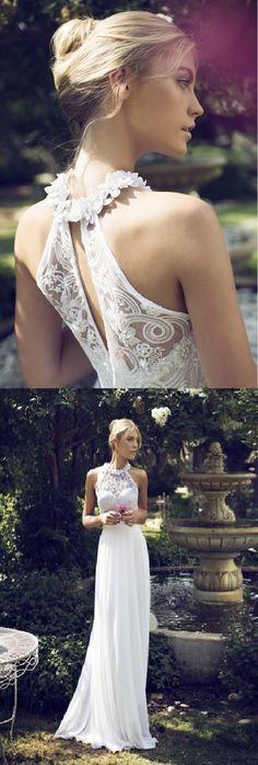sleeveless long lace a-line/princess chiffon wedding dress