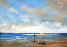 A Day at the Beach.   Oil on canvas. 60 x 41 cm.  Private Collection: Reneé Goldsworthy.