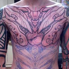 Mecha Eva-Inspired chest piece wip by Uken on DeviantArt Robotic Arm Tattoo, Cyborg Tattoo, Robot Tattoo, Art Inspiration Drawing, Tattoo Inspiration, Chest Tattoo, I Tattoo, Biomechanical Tattoo Design, Organic Tattoo
