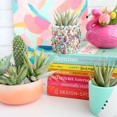 """175 Likes, 13 Comments - Kailo Chic - Kara Whitten (@kailochic) on Instagram: """"Cue the confetti! It's a DIY confetti laden planter featuring my favorite @thimblepress push pop…"""""""