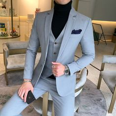 Prom Suits For Men, Dress Suits For Men, Formal Dresses For Men, Formal Wear For Men, Suit For Men, Korean Fashion Men, Mens Fashion Suits, Mens Suits, Groom Suits