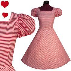Vintage 80s Red Chevron Puff Sleeve Dress S, $80.00