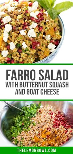 This hearty winter salad is filled with chewy farro, roasted butternut squash, sweet pomegranate and tangy goat cheese. The ultimate side dish recipe! Grilled Vegetables, Veggies, Squash Salad, Farro Salad, Holiday Side Dishes, Winter Salad, Roasted Butternut Squash, Kitchen Recipes, Side Dish Recipes