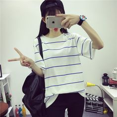 >> Click to Buy << Summer New South Korea BF small wind fresh simple Korean Navy Stripe badge loose and casual female short sleeved T-shirt #Affiliate
