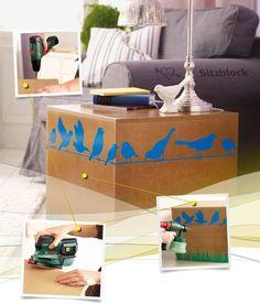 #DIY pouf - this piece of furniture is a nice homedecor accessorie and quickly done in a few steps #Bosch /// Mit dieser Schritt für Schritt Anleitung könnt Ihr euch ganz schnell einen tollen Sitzblock aus Holz bauen.