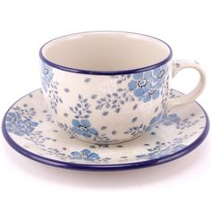 $24.99 Cup with Saucer 7.5 oz (0.22 L) Dreaming in White & Blue Slavica Polish Pottery slavicapottery.com