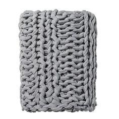 Chunky Knit Grey Marle Rib Throw