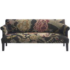Large Floral Modern Rustic Kilim Dhurri Upholstered Sofa found on Polyvore