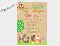 Woodland Baby Shower Invitation Forest Friends by jcbabycakes, $11.00