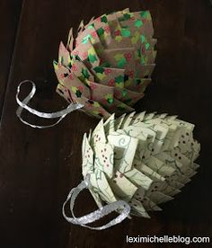 Easy DIY paper pine cone Christmas ornament for cheap! It looks so complex but is really so easy & will definitely impress! Perfect for an ornament exchange! Paper Ornaments, Diy Christmas Ornaments, Homemade Christmas, Holiday Crafts, Christmas Decorations, Cheap Christmas Crafts, Origami Ornaments, Crafts Cheap, Hallmark Christmas
