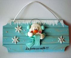 christmass sign in wood and polymer clay