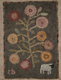 Folk Art Primitive Hand Hooked Rug Penny Flowers and Sheep  ~♥~