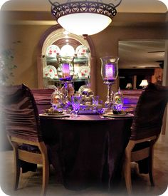 Purple Fantasy Halloween Table | Life and Linda -Blog Design, Decorating, Tablescapes, Gardening