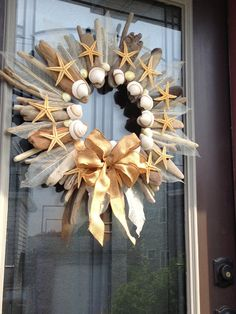Large Driftwood Wreath with Shells Starfish and by MarjoryClaire, $65.00