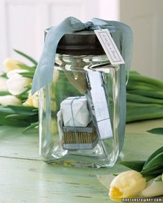 Hostess Gift Idea Contains Jar that doubles as a vase, Scissors, Flower Foam, Frog, and Flower preservative