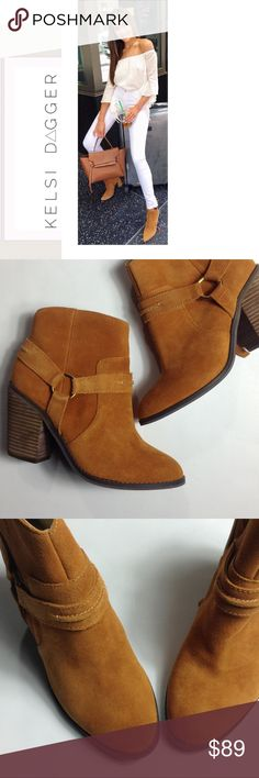 """Kelsi Dagger 🔆 Ankle Booties Kelsi Dagger 🔆 Beautiful Rich Brown Leather Suede Ankle Booties 🔆 NWT Floor Sample (Minor Scuffing on Sole - No Box) 8B, Heel 3 1/2"""", Leather Upper, Manmade Sole (pictures 2-7 depict boots for sale) 🔆 accepting reasonable offers 🔆 15% discount on bundles Kelsi Dagger Shoes Ankle Boots & Booties"""