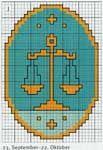 "Free zodiac cross-stitch pattern ""Scales"" | Cross-Stitch Club"