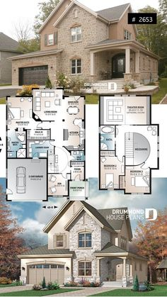 European luxury house plan, 3 to 4 bedrooms . - European luxury house plan, 3 to 4 bedrooms, open staircase, garage for 2 cars – - Sims 4 House Plans, House Plans One Story, Dream House Plans, House Floor Plans, Dream Houses, House Design Plans, European House Plans, Luxury House Plans, Luxury Floor Plans