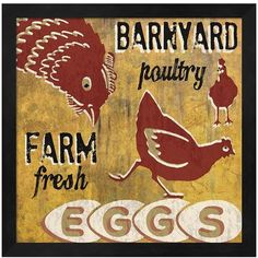 Metaverse Art ''Barnyard Poultry'' Framed Wall Art ($54) ❤ liked on Polyvore featuring home, home decor, wall art, black, vertical wall art, country home decor, black framed wall art, country wall art and black wall art