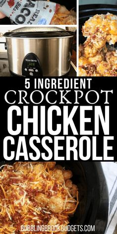 This easy Crock Pot Tater Tot Casserole has lots of chicken, cheese, and real bacon! It's a budget friendly, crock pot chicken casserole recipe the whole family will love! Plus, it's just five ingredients. Crockpot Chicken Casserole, Easy Crockpot Chicken, Tater Tot Casserole, Chicken Bacon, Slow Cooker Chicken, Casserole Recipes, Chicken Recipes, Dinner Crockpot, Teriyaki Chicken