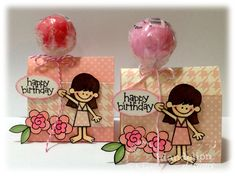 "Turn a lollipop into a balloon.quick and easy! Stamps used: Girl stamp is from ""Aloha"" Flower stamp is form ""Never F. Dandelion Designs, Flower Stamp, Luau, One Color, Paper Dolls, Balloons, Miniatures, Make It Yourself, Stamps"
