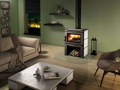Practical heating with a European touch. This sleek wood stove can be personalized and will ensure physical well being for generations Comes standard with blower Refractory Brick, Black Exterior, Soapstone, Cool Beds, Mobile Home, Heating Systems, Comfort Zone, Home Remodeling, Home Appliances