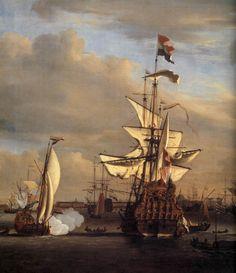 """The """"Gouden Leeuw"""" before Amsterdam (detail), 1686,Oil on canvas,Historisch Museum, Amsterdam,Willem van de, VELDE, the Younger, NOT J.Vermeer"""