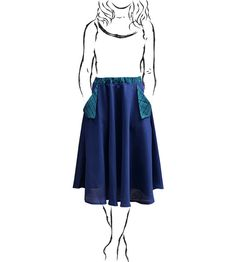 Navy A-line Flared Midi Skirt with Green Plaid by 1SKiRTunique - unique one of a kind clothing