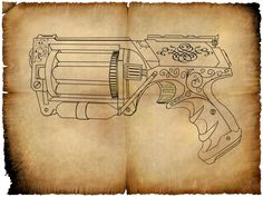 Daniel's Pulse Guns - Nerf Gun: Maverick REV-6: Steampunk (via @mmitte1)