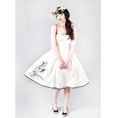 Tea length ivory satin wedding dress with a rabbit by JULfashion