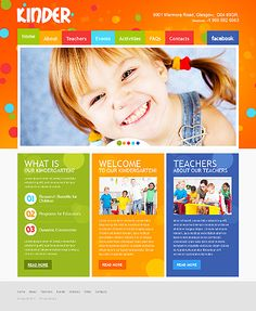 Template 35143 - Colorful Kindergarten & Preschool HTML5 Website Design With Homepage Slideshow Animation